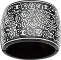 "Luxury Accessories:Accessories, Chanel Black & White Enamel and Silver Crystal Paisley CuffBracelet. Excellent Condition. 2.5"" Width x 6""Length. ..."