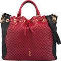 """Luxury Accessories:Bags, Christian Louboutin Red & Black Quilted Leather Tote Bag.Very Good Condition. 15.5"""" Width x 12.5"""" Height x 7"""" Depth...."""