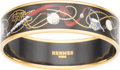 "Luxury Accessories:Accessories, Hermes 60mm Black Narrow Printed Enamel Bracelet with Gold Hardware. Excellent Condition. 0.5"" Width x 7.5"" Length. ..."
