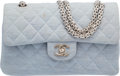 """Luxury Accessories:Bags, Chanel Blue Quilted Wool Small Double Flap Bag. Very Good toExcellent Condition. 9"""" Width x 6"""" Height x 2.5""""Depth..."""