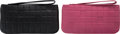 "Luxury Accessories:Accessories, Chanel Set of Two; Black & Pink Square Embossed Wallets.Very Good Condition. 8"" Width x 4"" Height x 0.5""Depth. 8... (Total: 2 Items)"
