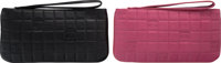 "Chanel Set of Two; Black & Pink Square Embossed Wallets Very Good Condition 8"" Width x 4"" Height"