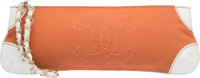 """Chanel Orange Canvas & White Leather Clutch Bag Very Good Condition 12"""" Width x 4"""" Height x 1.5"""""""
