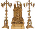 Decorative Arts, French:Other , A Monumental Baroque-Style Gilt Bronze Clock Garniture, 19thcentury. 32 h 15-1/2 w 9 d inches (81.3 x 39.4 x 22.9 cm) (cloc...(Total: 3 Items)