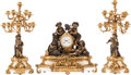 Clocks & Mechanical:Clocks, A Louis XV-Style Patinated and Gilt Bronze with White Marble Clock Garniture, 19th century and later. Marks to clock face: ... (Total: 3 Items)