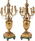 Decorative Arts, French, A Pair of Louis XVI-Style Gilt Bronze and Malachite Nine-LightCandelabra in the Manner of Clodion, late 19th century and la...(Total: 2 Items)