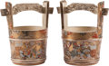 Asian:Japanese, A Pair of Japanese Satsuma Water Bucket-Form Ceramic Pots, MeijiPeriod. 8-1/2 h x 8 w x 5-1/2 d inches (21.6 x 20.3 x 14.0 ...(Total: 2 Items)