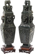 Asian:Chinese, A Pair of Chinese Carved Spinach Jade Covered Vases on Stands. 18 hx 5 w x 5 d inches (45.7 x 12.7 x 12.7 cm) (vases, exclu... (Total:2 Items)