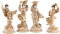 Asian:Japanese, Four Japanese Carved Bone Geisha Figures, 20th century. 18-1/2 h x7-1/2 w x 7-1/2 d inches (47.0 x 19.1 x 19.1 cm). ... (Total: 4Items)