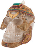 Decorative Arts, Continental, A Mughal-Style Rock Crystal, Semi-Precious Stone and GiltBronze-Mounted Skull, 21st century. 9 h x 9 w x 6 d inches (22.9x...