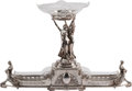 Silver Holloware, Continental, An Art Deco Cut-Glass and Silver-Plated Figural Centerpiece. 20-3/4h x 33 w x 8 d inches (52.7 x 83.8 x 20.3 cm). ...