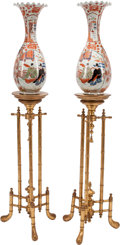 Asian:Chinese, A Pair of Japanese Porcelain Vases on Giltwood Stands, 20thcentury. 23-1/2 inches high (59.7 cm) (vases). 38-1/2 inches hig...(Total: 4 Items)