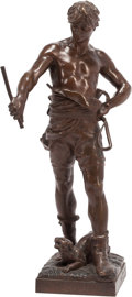 Bronze:European, After Eugene Marioton (French, 1857-1922). Belluaire. bronze. Marks: BELLUAIRE, Eug. Marioton on plinth. 32 inc...