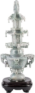 Asian:Chinese, A Large Chinese Carved Jadeite Pagoda-Form Covered Censer andStand. 26-1/4 h x 12 w x 9 d inches (66.7 x 30.5 x 22.9 cm) (c...(Total: 3 Items)