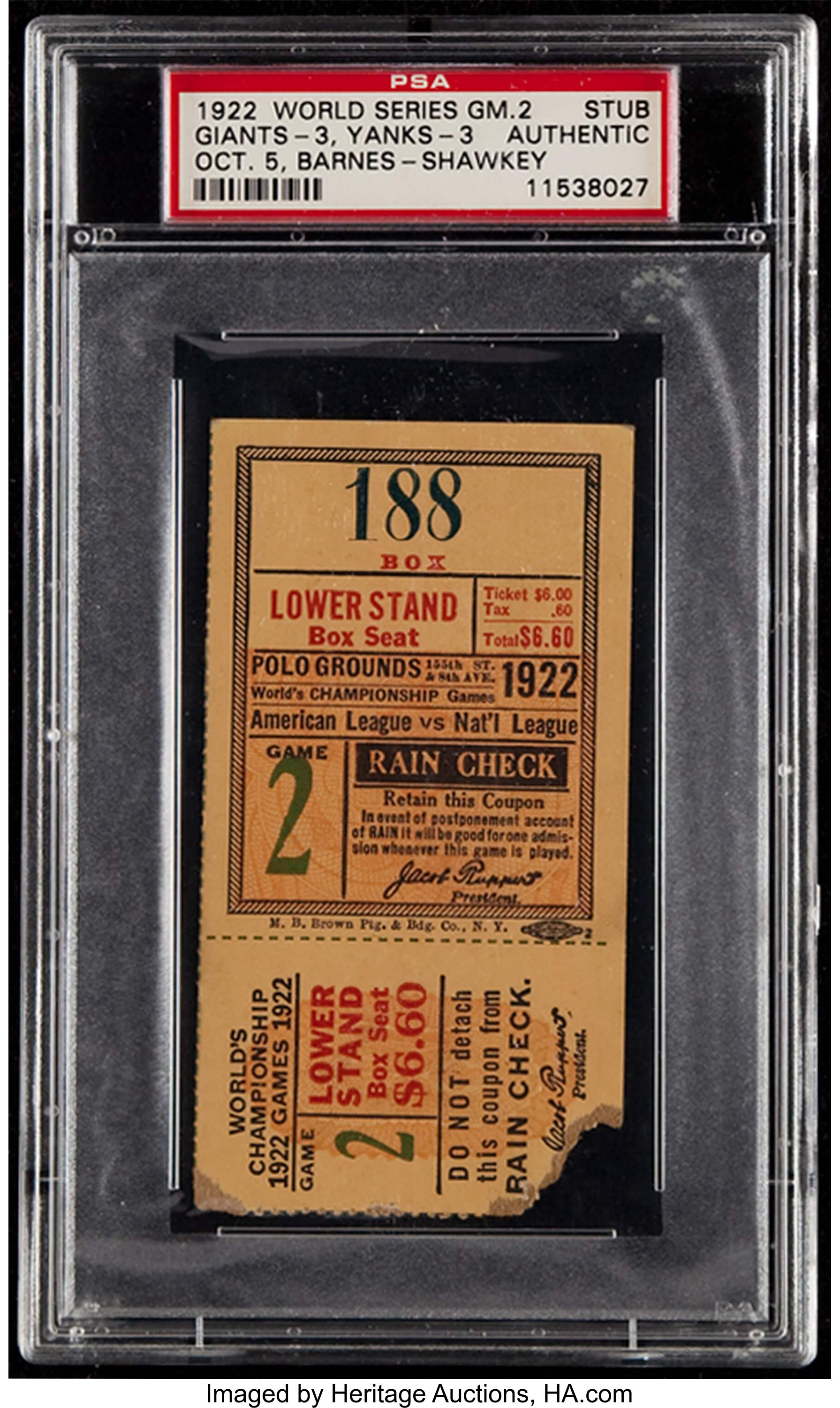 1922 World Series Game 2 PSA Authentic Ticket Stub - Giants
