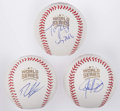 Autographs:Baseballs, 2016 Chicago Cubs World Series Masterminds Single Signed BaseballTrio - Epstein, Hoyer, & Ricketts. ...