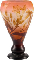 Art Glass:Galle, A Galle Overlay Lily Glass Vase, Nancy, France, early 20thcentury. Marks: Galle. 12-1/4 inches high (31.1 c...