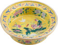 Asian:Chinese, A Chinese Famille Jaune Porcelain Bowl. 3-3/4 inches high x 13-1/4inches diameter (9.5 x 33.7 cm). ...