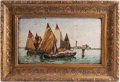 Other, An Italian Mosaic Plaque of a Venetian Port in Giltwood Frame, 20th century. 10-1/2 inches high x 18-1/2 inches wide (26.7 x...