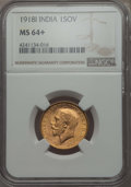 India:British India, India: British India. George V Sovereign 1918-I MS64+ NGC,...