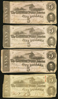 Confederate Notes:1862 Issues, T53 $5 1862 (3).. T60 $5 1863.. ... (Total: 4 notes)