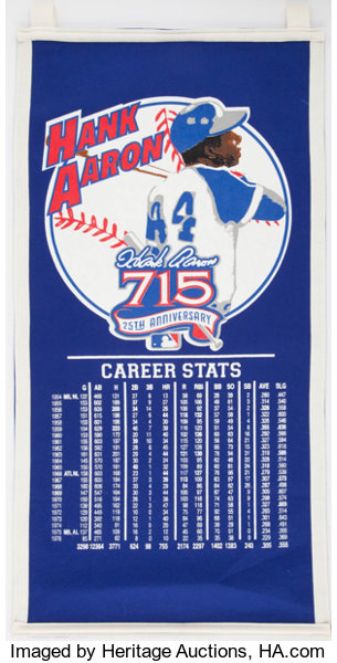 sports shoes 2c1d4 df08c Hank Aaron Mitchell & Ness Banner. ... Baseball Collectibles ...
