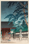 Fine Art - Work on Paper:Print, Hasui Kawase (Japanese, 1883-1957). Spring Rain at GokokuTemple, 1932. Woodblock in colors. 14-1/4 x 9-3/8 inches(36.2...