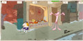 Animation Art:Production Cel, Pink Panther Production Cel Setup and Master PaintedBackground (DePatie-Freleng, c. 1960s-70s)....