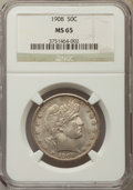Barber Half Dollars, 1908 50C MS65 NGC....