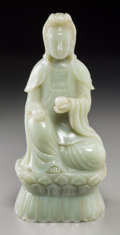 Asian:Chinese, A Large Chinese Carved Jade Figure of Guanyin, 20th century. 12-5/8inches high (32.1 cm). ...
