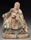 Asian:Chinese, A Chinese Lacquered and Polychromed Wooden Monk Figure. 12 incheshigh (30.5 cm). ...