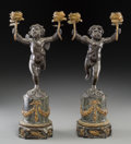 Decorative Arts, French:Other , A Pair of Bronzed, Marble, and Gilt Bronze-Mounted FiguralTwo-Light Candelabra, 19th century. 15-1/2 inches high (39.4 cm)...(Total: 2 Items)