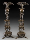 Decorative Arts, French:Other , A Pair of Grand Tour Bronze Figural Garnitures, 19th century.19-1/4 inches high (48.9 cm). ... (Total: 2 Items)