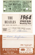 Music Memorabilia:Tickets, Beatles Dallas Concert Ticket and Press Pass (1964)....