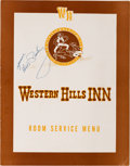 Music Memorabilia:Autographs and Signed Items, Elvis Presley Signed Room Service Menu, 1958....
