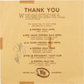 Music Memorabilia:Autographs and Signed Items, Elvis Presley Signed Hotel Receipt, 1958....