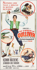 """Movie Posters:Fantasy, The 3 Worlds of Gulliver (Columbia, 1960). Three Sheet (40.5"""" X 79""""). Fantasy.. ..."""