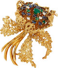 Estate Jewelry:Brooches - Pins, Emerald, Sapphire, Diamond, Gold Brooch. ...