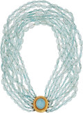 Estate Jewelry:Necklaces, Aquamarine, Mother-of-Pearl, Gold Necklace, Elizabeth Locke. ...