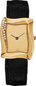 Estate Jewelry:Watches, Lady's Diamond, Gold, Leather Strap Watch, Angela Cummings, French....