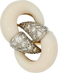 Estate Jewelry:Rings, White Coral, Diamond, Gold Ring. ...