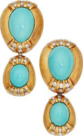 Estate Jewelry:Earrings, Turquoise, Diamond, Gold Earrings. ... (Total: 2 Items)