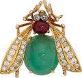 Estate Jewelry:Brooches - Pins, Diamond, Ruby, Emerald, Gold Brooch, Van Cleef & Arpels. ...