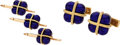 Estate Jewelry:Cufflinks, Enamel, Gold Dress Set. ... (Total: 2 Items)