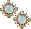 Estate Jewelry:Earrings, Aquamarine, Mother-of-Pearl, Cultured Pearl, Gold Earrings,Elizabeth Locke. ...