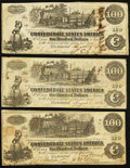 Confederate Notes:1862 Issues, T39 $100 1862 Three Examples.. ... (Total: 3 notes)