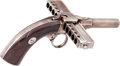 Handguns:Derringer, Palm, J. Jarre of Paris, France Harmonica Pinfire Pistol....