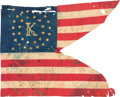 Military & Patriotic:Civil War, 35-Star Company K Silk Cavalry Guidon....