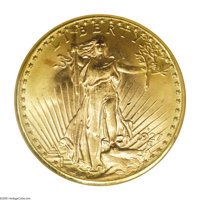 1927-D $20 MS65 NGC. The Saint-Gaudens series of twenties is replete with scarce, rare, and valuable issues. It is an un...