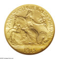 Commemorative Gold: , 1915-S $2 1/2 Panama-Pacific Quarter Eagle MS67 NGC. An impeccablesatin-surfaced Gem with bountiful luster and tinges of o...